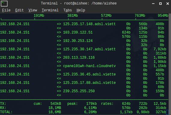 Monitor server traffic với iftop và iptraf